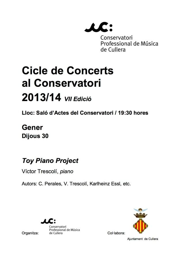 Cicle de Concerts al Conservatori Cartell Gener 2014